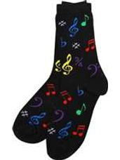 Black Ladies Socks with Multi-Colored Notes (9-11)